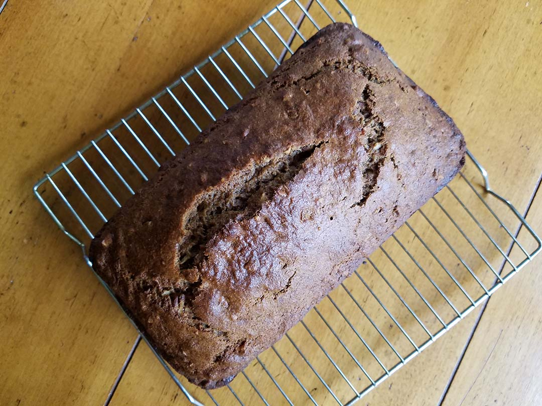 banana bread cooling on rack