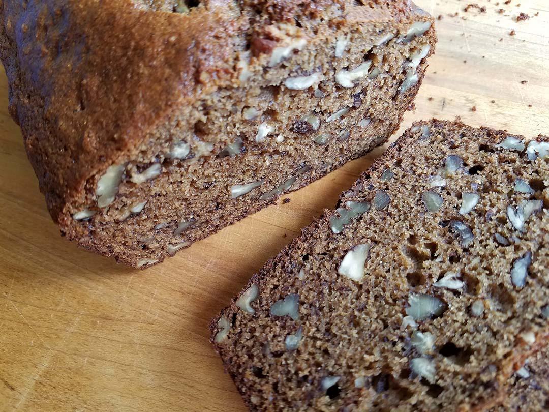 sliced banana bread with einkorn whole wheat flour