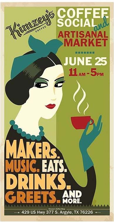 Poster for Coffee Social & Artisanal Market at Kimzey's Coffee Shop
