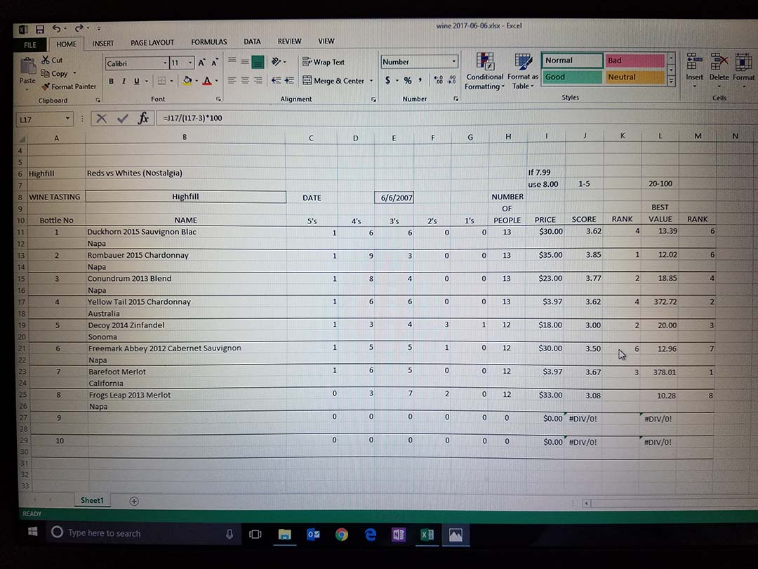 Vino Amores wine tasting spreadsheet