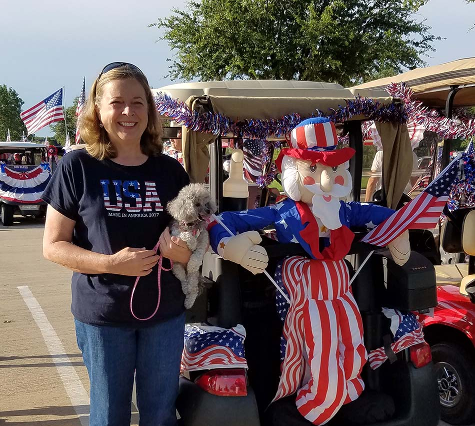 Happy 4th of July - Izzie and Tracy with Uncle Sam