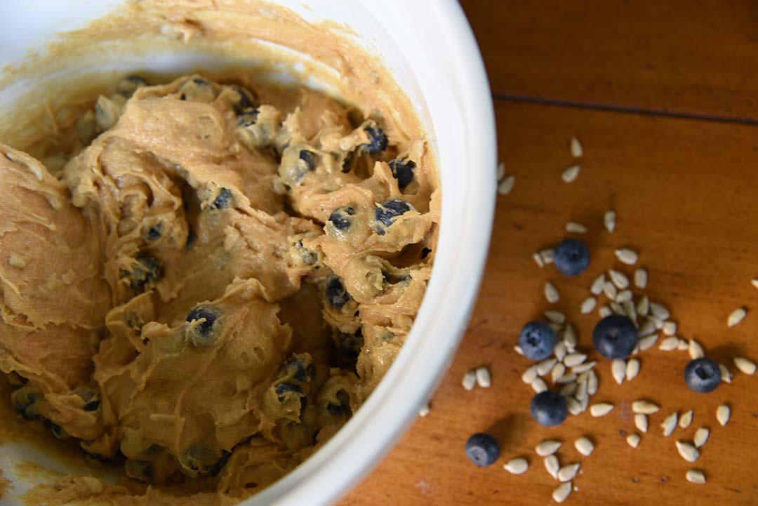 Jen's blueberry sunflower seed muffins - add blueberries 2