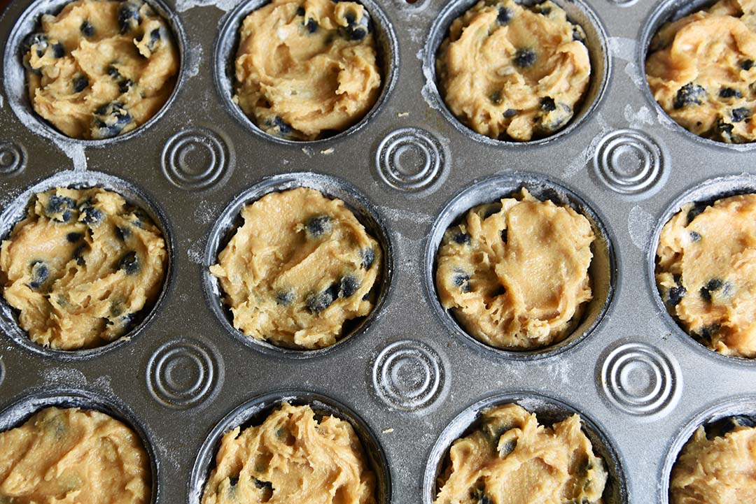 Jen's blueberry sunflower seed muffins - scoop into muffin tin
