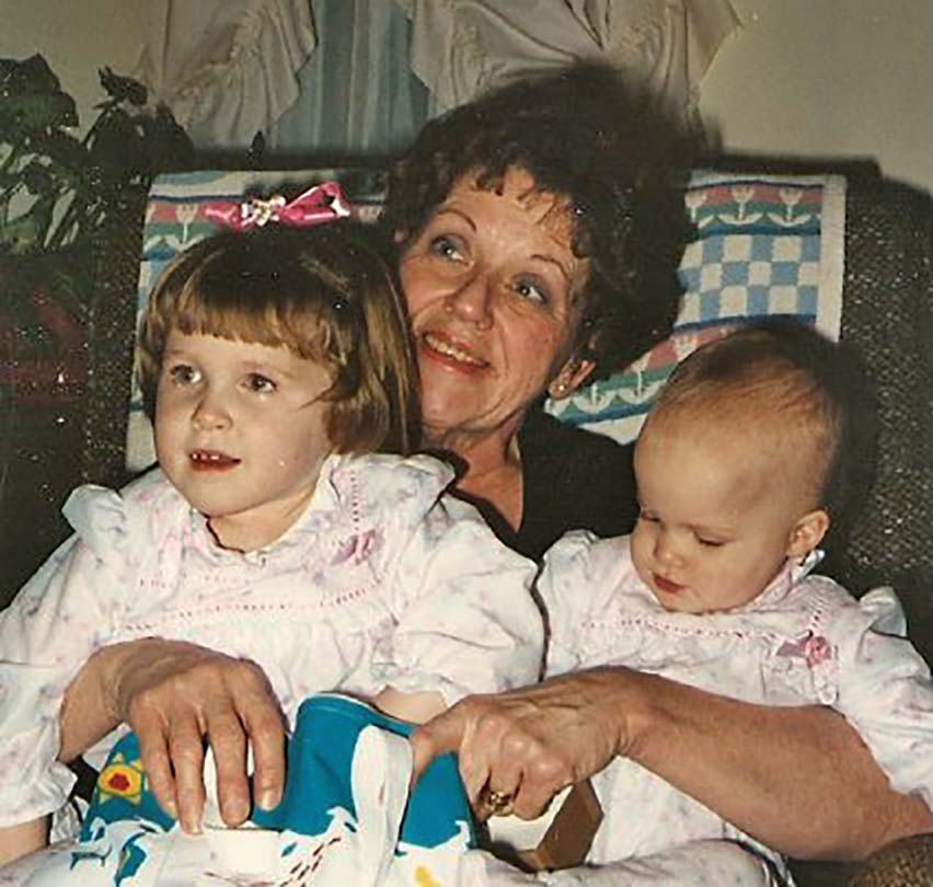 Jen's blueberry sunflower seed muffins - younger Jen and Jessie with Grandma