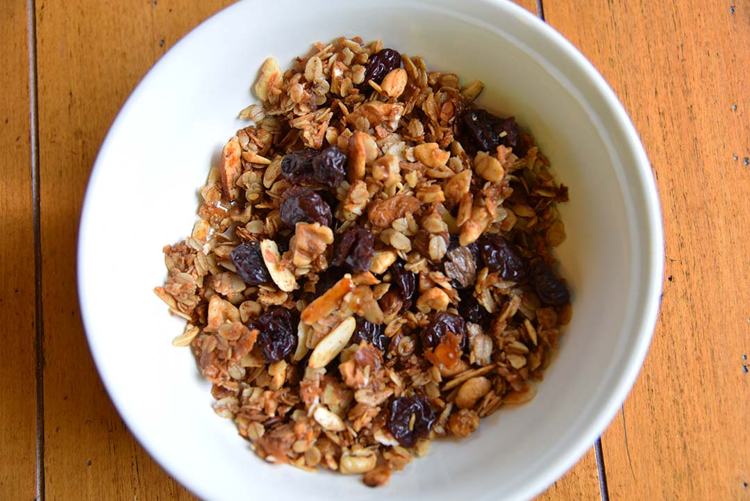 Tara's Homemade Granola - serve granola with dried fruit