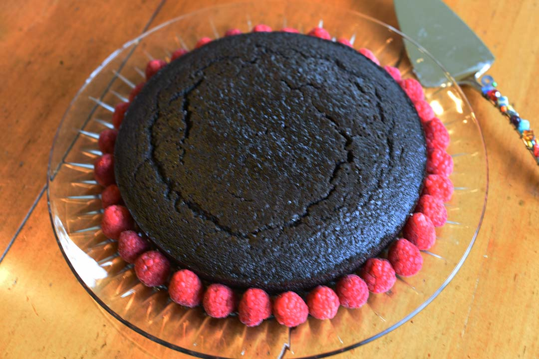 Chocolate Cake with Raspberries for Wine Tasting - Cake ringed with raspberries