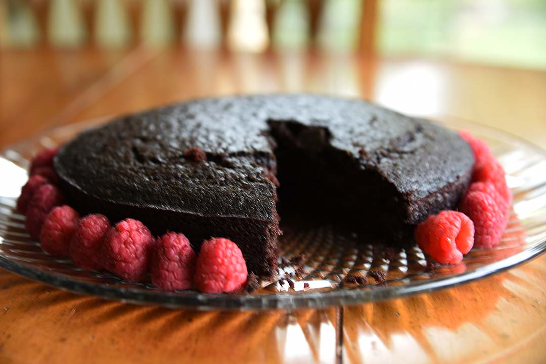 Chocolate Cake with Raspberries for Wine Tasting - Piece cut out of cake