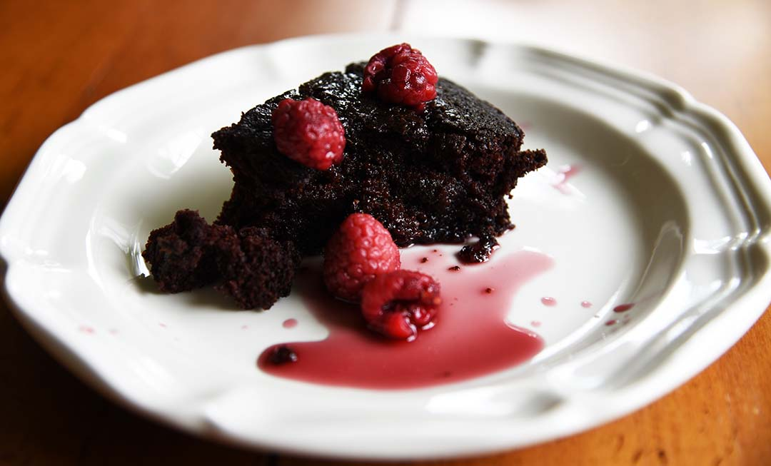 Leftover Red Wine Chocolate Cake with Drunken Raspberries