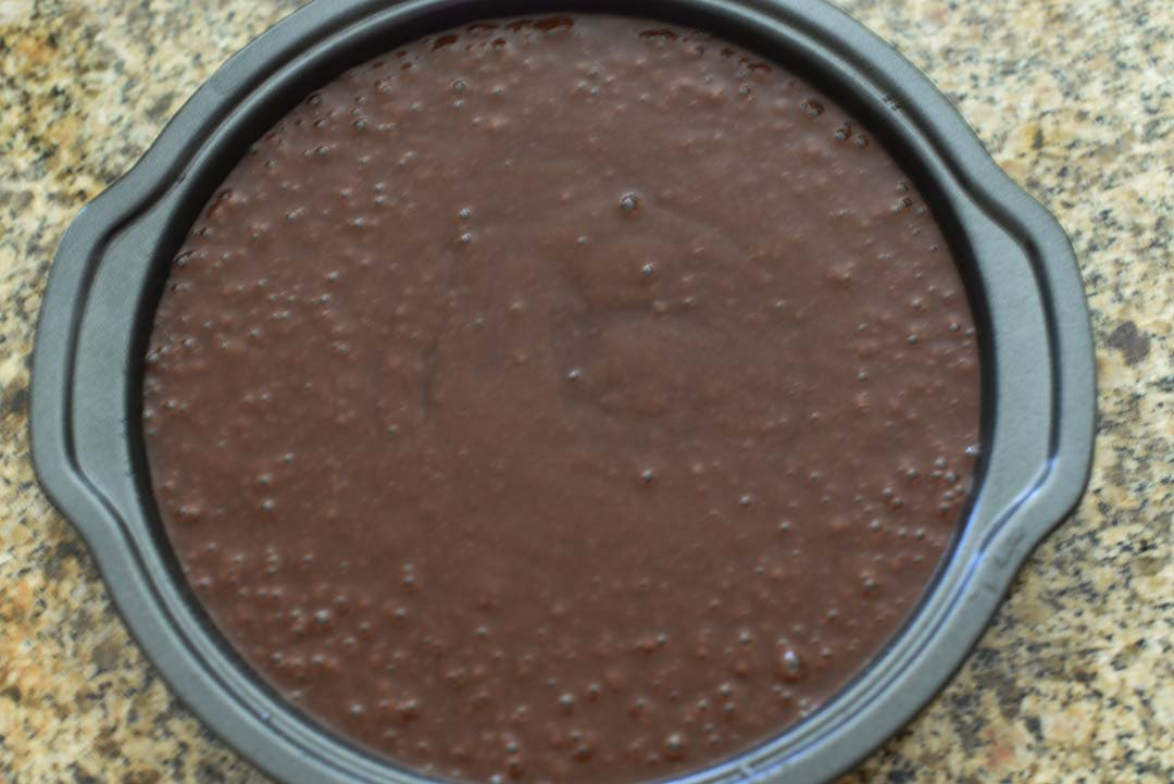 Chocolate Cake with Raspberries for Wine Tasting - Pour batter into pan