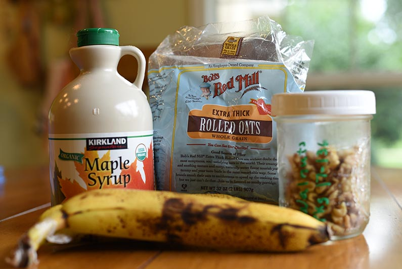 Maple Oat Banana Walnut Bread - Ingredients