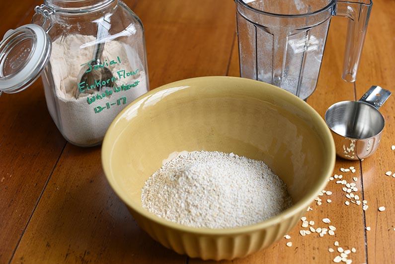 Maple Oat Banana Walnut Bread - dry ingredients