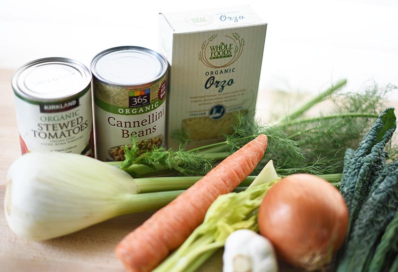 2018-02-16 Italian Bean and Pasta Soup - Ingredients