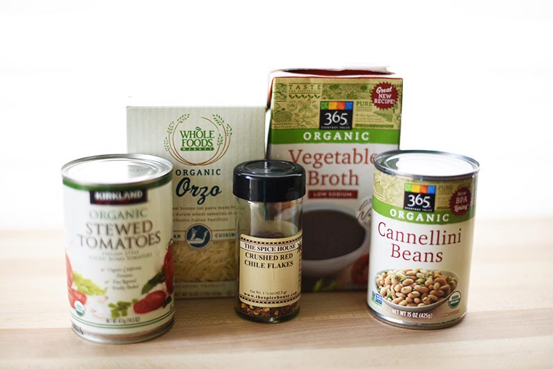 2018-02-16 Italian Bean and Pasta Soup - Packaged ingredients