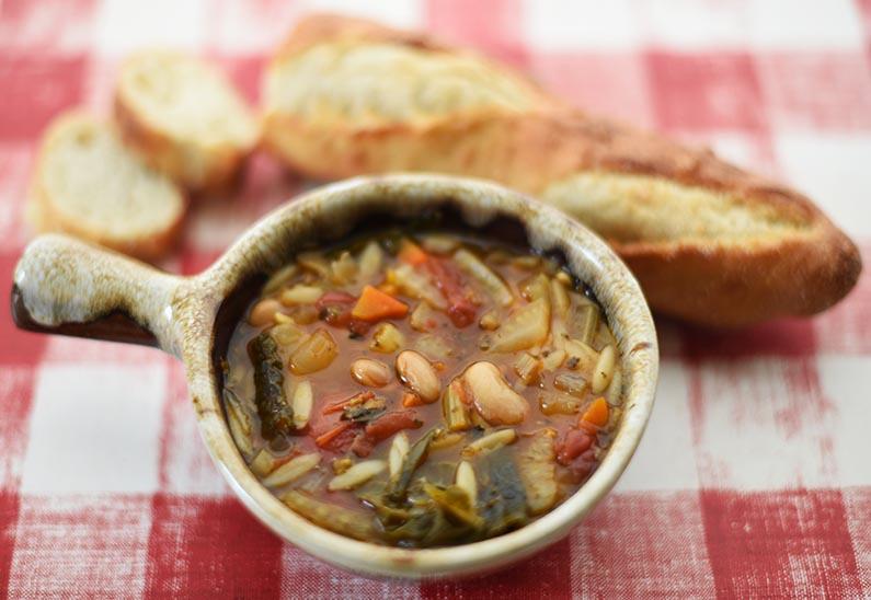 2018-02-16 Italian Bean and Pasta Soup - Soup & sourdough bread