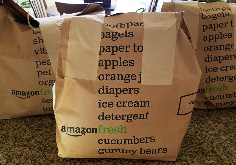 AmazonFresh Grocery Delivery - bags of groceries