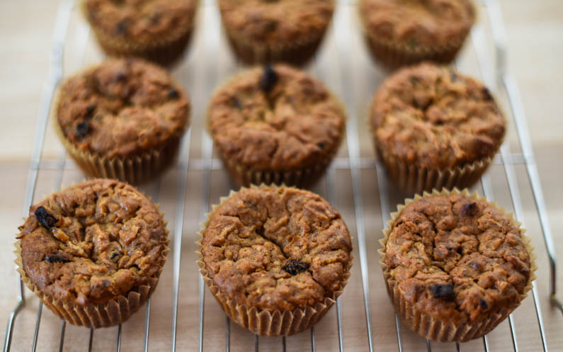Carrot Muffins with Raisins, Walnuts, and Maca Powder-10
